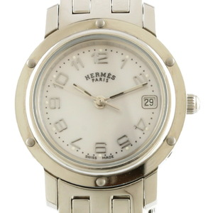 HERMES Hermes Watch White Shell Clipper Nacre CL4.210 Silver Ladies Stainless Steel