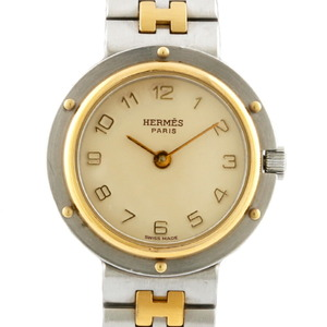 HERMES Hermes Watch Clipper Silver Gold Ladies Stainless Steel