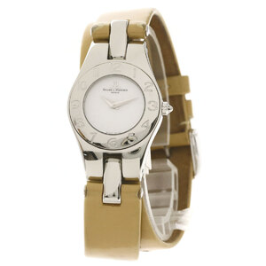 Baume & Mercier Round Face Watch Stainless Steel Leather Ladies