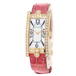 Harry Winston 330LQR Lady Avenue C Watch K18 Pink Gold Leather Diamond Ladies