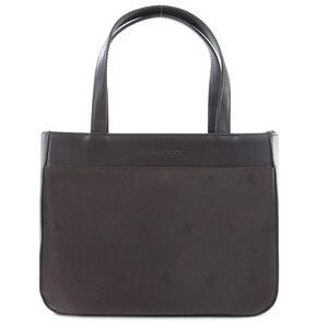Burberry Logo Tote Bag Leather Nylon Ladies