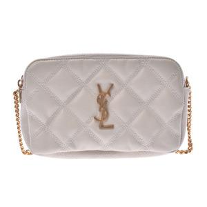 SAINT LAURENT Becky Ivory Gold Hardware Ladies Leather Shoulder Bag