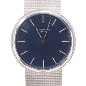 PATEK PHILIPPE Patek Philippe Calatrava 3563 3 Men's White Gold Watch Automatic Blue Dial