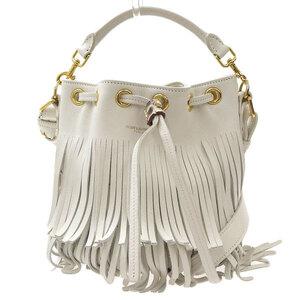 SAINT LAURENT Emmanuel Fringe 2WAY Shoulder Bag White Leather