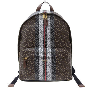 BURBERRY TB Men's Backpack Striped Brown 8018651 Leather Bag