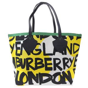 BURBERRY Graffiti Reversible Tote Bag White Yellow Black 4075825 Leather