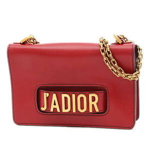 Christian Dior Jadior Classic 2way Shoulder Leather Red Antique Gold