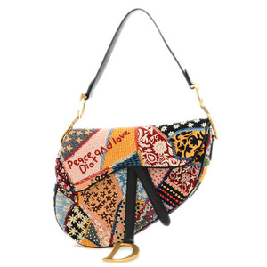Christian Dior Saddle Bag Patchwork Cotton Leather Beads Multicolor