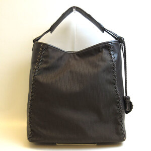 Christian Dior Semi-shoulder Bag Tote Brown Trotter One Shoulder Women's Nylon Canvas
