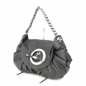 Christian Dior Black Silver Leather Shoulder Bag Brand Item Ladies