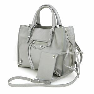 Balenciaga Guri Gray Calf Leather Paper Mini Bag 2way Shoulder Women's