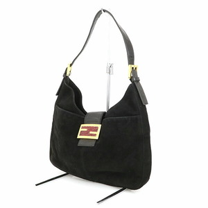 Fendi Black Red Suede One Shoulder Mamma Bucket Bag Ladies
