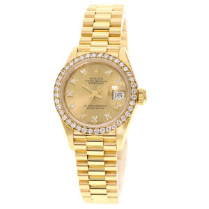 Rolex 69138G Datejust Bezel Diamond Watch K18 Yellow Gold Ladies