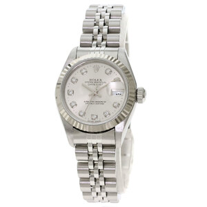Rolex 69174G Datejust 10P Diamond Watch Stainless Steel K18 White Gold Ladies