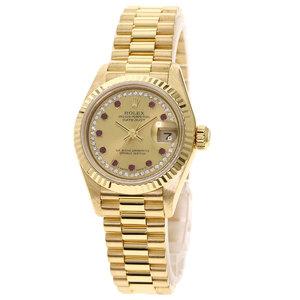 Rolex 69178LR Datejust 10P Ruby Diamond Watch K18 Yellow Gold Ladies
