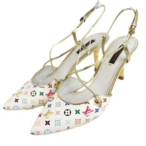 Louis Vuitton Monogram Multi Strap Heel Sandals Women's Gold Mule Pumps