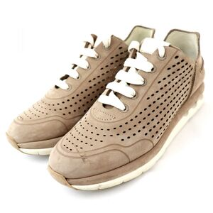 Salvatore Ferragamo Ferragamo Low Cut Leather Sneakers Women's 6.5M Beige Punching Nubuck