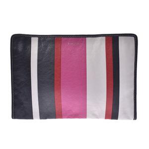 BALENCIAGA Balenciaga Bazaar Gray Pink 443658 Unisex Calf Clutch Bag