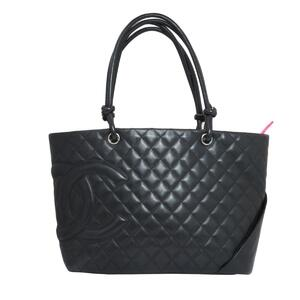 CHANEL Cambon Line Large Tote Bag Ladies Black Leather A25169
