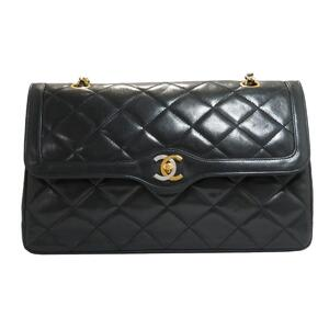 CHANEL Paris Limited Matrasse W Flap Chain Shoulder Bag Ladies Black Lambskin