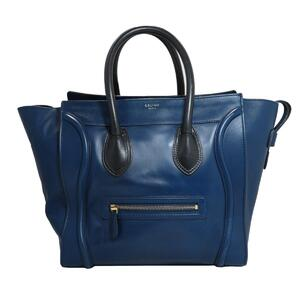 CELINE Luggage Mini Shopper Tote Bag Women's Blue Black Leather 189213