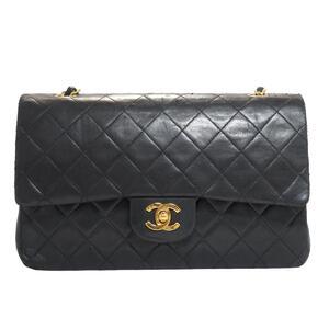 CHANEL Matrasse W Flap Chain Shoulder Women's Bag Black Lambskin A01112