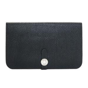 HERMES Hermes Dogon GM Bi-Fold Long Wallet Men's Black Togo