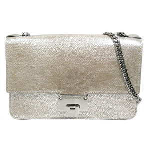 Jimmy Choo Shoulder Bag Chain Level Silver Leather Ladies