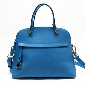 Furla FURLA Handbag Shoulder Bag 2Way Blue Gold Leather Ladies