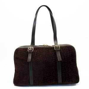 Celine CELINE Shoulder Bag Magadam Dark Brown Leather Suede