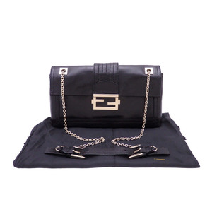 Fendi FENDI Shoulder Bag Black Leather Ladies