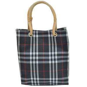 Burberry BURBERRY Bag Nova Check Black White Red Beige Nylon Leather Handbag Ladies