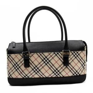 Burberry Handbag Nova Check Beige Black Canvas Leather Ladies