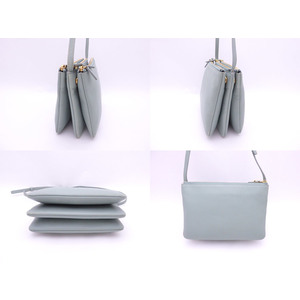 Celine CELINE Shoulder Bag Trio Small Green Gray Leather Ladies