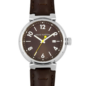 Louis Vuitton LOUIS VUITTON Tambour Stainless Steel Men's Watch Quartz Brown Dial Q1111