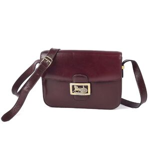 Celine CELINE carriage metal fittings classic smooth calf shoulder bag ladies bordeaux leather
