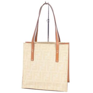 FENDI Zucca FF logo mini tote bag handbag ladies beige