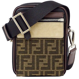 Fendi FENDI Jacquard Monogram Shoulder Bag Nylon Black Brown Ladies