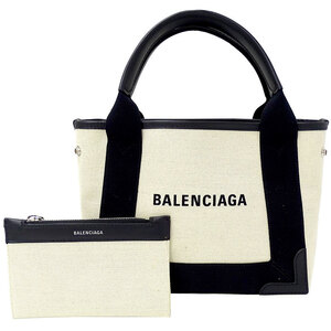 Balenciaga BALENCIAGA Navy Cover XS Tote Bag Handbag Canvas White Black
