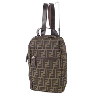 FENDI Zucca pattern FF logo mini backpack ladies leather khaki