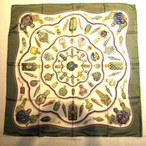 Hermes Green Ivory Scarf Stole Carre Ladies