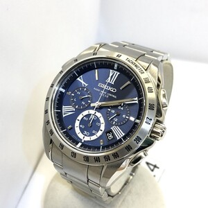 SEIKO Seiko Watch Analog BRIGHTZ Brights SAGA069 Chronograph Solar Stainless Steel Silver Blue Dial Date JAPAN Men's