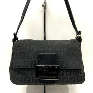 FENDI Handbag Mini Mamma Bucket 8BR180 One Shoulder Bag Zucchino Black Canvas Leather Ladies
