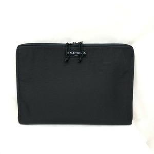 BALENCIAGA Clutch Bag Black Logo 504920 Nylon Canvas Round Zip Casual Men's