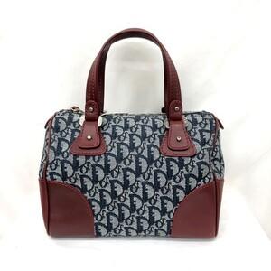 Christian Dior Mini Boston Bag Trotter Navy White Red Handbag Canvas Leather Ladies