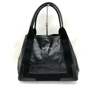 BALENCIAGA Balenciaga Handbag Navy Kabas S 339933 Black Leather Canvas Logo Ladies