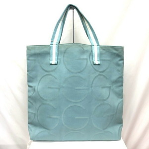 GUCCI Gucci Tote Bag 123439 Pastel Green White G Logo Canvas Leather One Shoulder Women's Men's