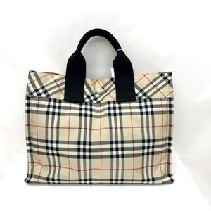 BURBERRY BLUE LABEL Burberry Blue Label Handbag Check Beige Black Nylon Canvas Ladies