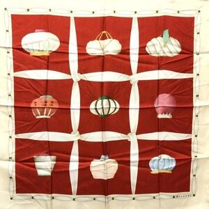 BVLGARI Bvlgari Scarf Large Format Turban Motif Beige Red Multicolor Silk Ladies