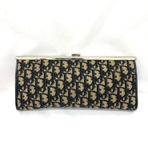 Christian Dior Old Clutch Bag Trotter Beige Navy Canvas Ladies